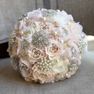 Shiny Crystal Beading Silk Rose Wedding Bouquet UK in White and Pink_4
