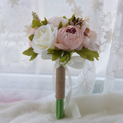 Real Touch Artificial Peony and Rose Wedding Bouquet UK_2