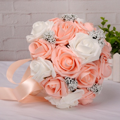 Two Colors Silk Flowers Wedding Bouquet UK with Ribbon_7