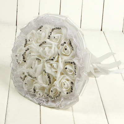 Glitter Crystal Beading Wedding Bouquet UKs with Lace_1