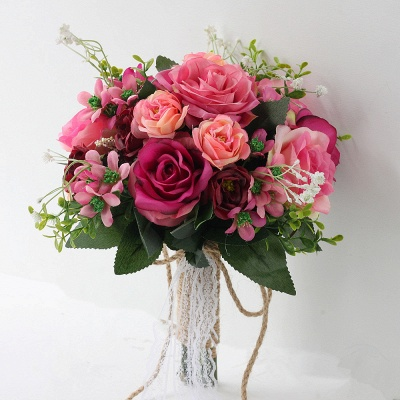 Two colors Artificial Real Touch Rose Online Bouquet for Wedding_2