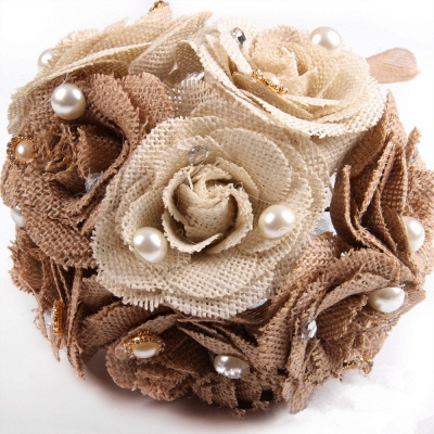 Brown Online Bouquet for Wedding with ribbon strings_6