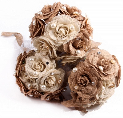 Brown Online Bouquet for Wedding with ribbon strings_4