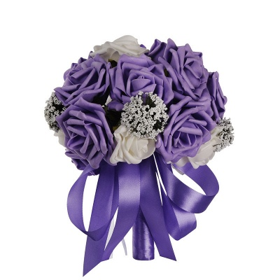Two Colors Silk Flowers Wedding Bouquet UK with Ribbon_4