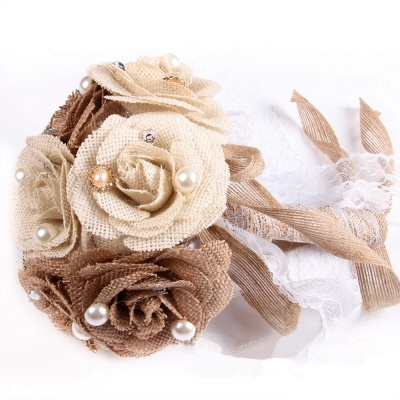 Brown Online Bouquet for Wedding with ribbon strings_5