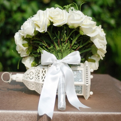 Silk Rose Wedding Bouquet UK in Ivory with Ribbons_4