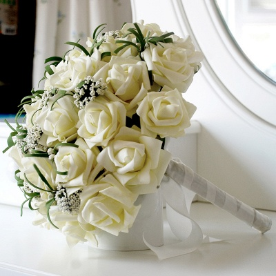 Silk Rose Wedding Bouquet UK in Ivory with Ribbons_3