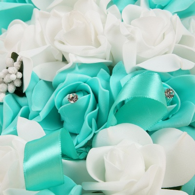 Colorful Silk Rose Wedding Bouquet UK with Ribbons_11