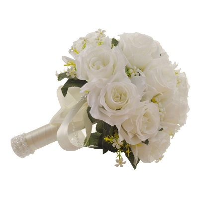 White Rose Artificial Wedding Bouquet UK with Handle_4
