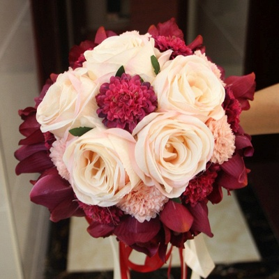 Silk Rose Artificial Orchid and Marigold Wedding Bouquet UK_8