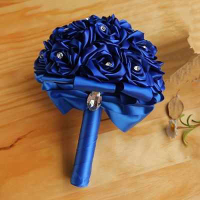 Colorful Silk Rose Wedding Bouquet UK with Crystals_6