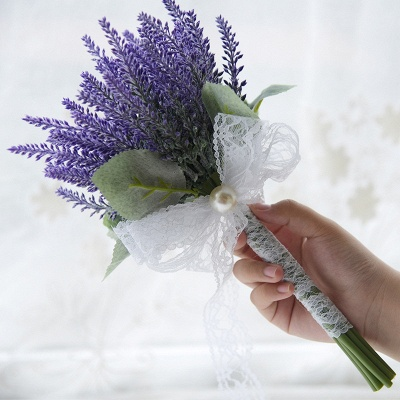 Real Touch Sage Flowers Bouquet with Lace Ribbon_1