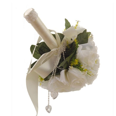 White Rose Artificial Wedding Bouquet UK with Handle_3