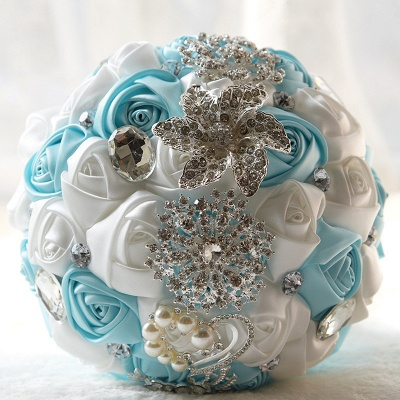 Colorful Silk Rose Crystal Beading Wedding Bouquet UK_6