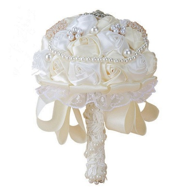 Elegant White Silk Rose Bouquet with Crystal Beading_2