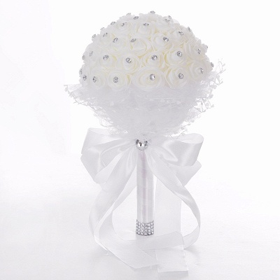 Elegant Pure White Beading Wedding Bouquet UK with Lace Ribbon