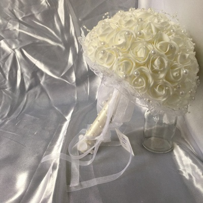 Silk Ivory Rose Wedding Bouquet UK with Lace ribbons_6