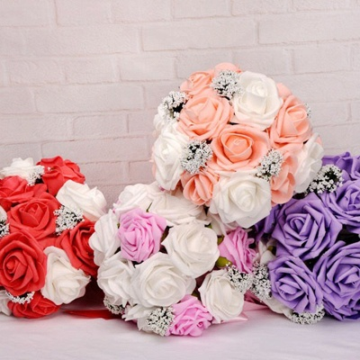 Two Colors Silk Flowers Wedding Bouquet UK with Ribbon_10