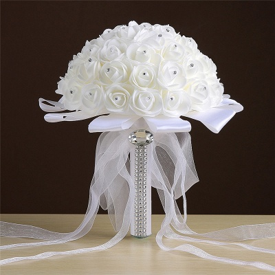 Ivory Silk Rose Wedding Bouquet UK with Beads_1