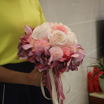 Silk Rose Artificial Orchid and Marigold Wedding Bouquet UK_1