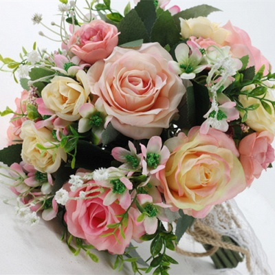 Two colors Artificial Real Touch Rose Online Bouquet for Wedding_4