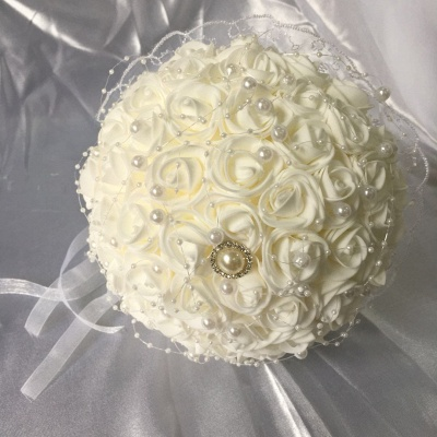 Silk Ivory Rose Wedding Bouquet UK with Lace ribbons