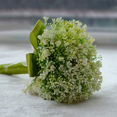 Green Babysbreath Real Touch Wedding Bouquet UK_4
