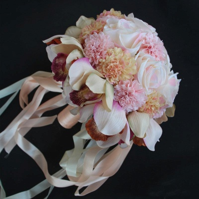 Silk Rose Artificial Orchid and Marigold Wedding Bouquet UK_4