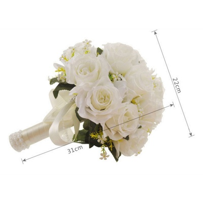 White Rose Artificial Wedding Bouquet UK with Handle_7