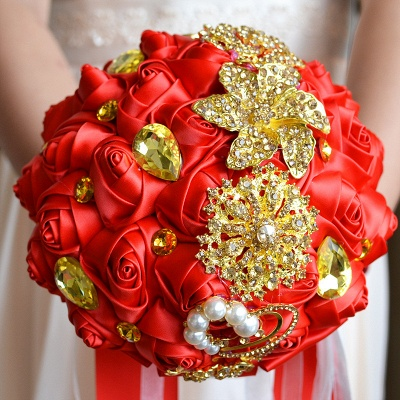 Colorful Silk Rose Crystal Beading Wedding Bouquet UK_4