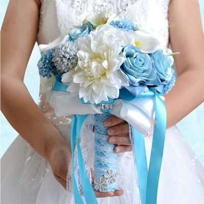 Artificial Camomile and Lily Wedding Bouquet UK in Blue and White_3