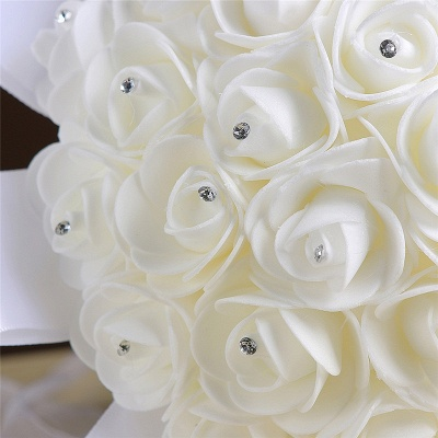Ivory Silk Rose Wedding Bouquet UK with Beads_4