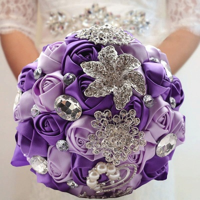 Colorful Silk Rose Crystal Beading Wedding Bouquet UK_5