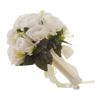 White Rose Artificial Wedding Bouquet UK with Handle_5
