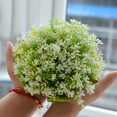 Green Babysbreath Real Touch Wedding Bouquet UK_3