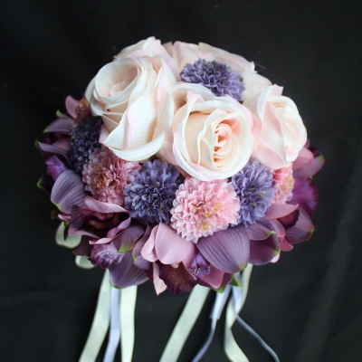 Silk Rose Artificial Orchid and Marigold Wedding Bouquet UK_5