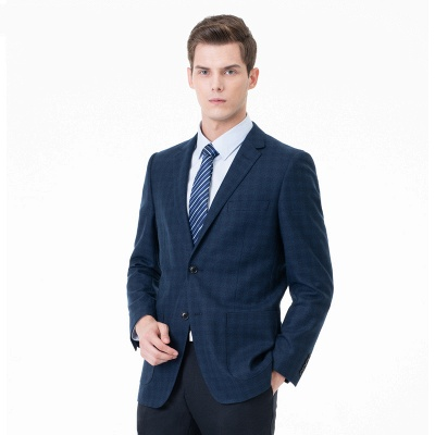 Comfortable Groomsman Lattice Two Button Peak Lapel Two Pieces Suits with Pants_3