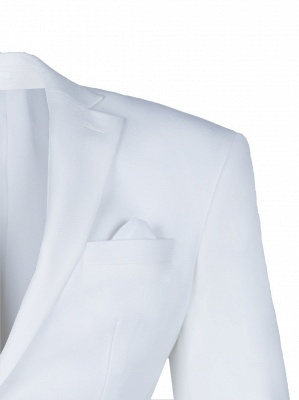 High Quality White Back Vent Two Button Groomsman Peak Lapel Casual Suit_3