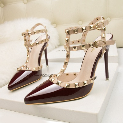 Modern Pionted Toe High Heel Buckle Hollowout Wedding Shoes UK with Rivets
