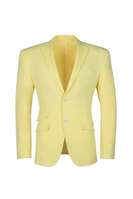 High Quality Peak Lapel Groomsman Slim Fit Daffodil Single Breasted Suit UK_1