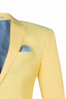 Noched Lapel Two Button Single Breasted Daffodil UK Wedding Suit Slim Fit_3