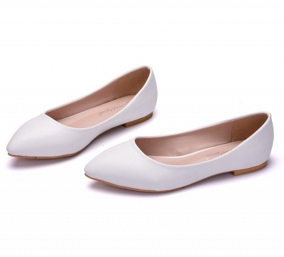 Woman Round Toe PU Flat Wedding Shoes UK_2