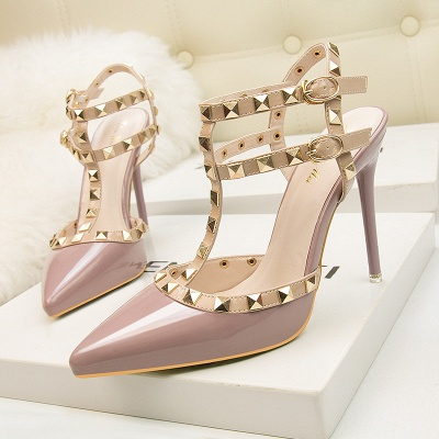 Modern Pionted Toe High Heel Buckle Hollowout Wedding Shoes UK with Rivets_2