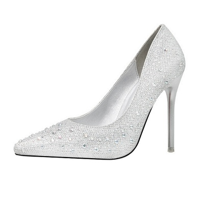 Modern Pionted Toe High Heel Wedding Shoes UK with Beadings_3