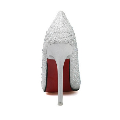 Modern Pionted Toe High Heel Wedding Shoes UK with Beadings_5