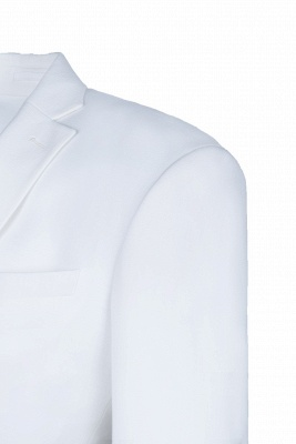 High Quality White Back Vent Two Button Groomsman Peak Lapel Casual Suit_4