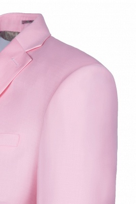 Peak Lapel Candy Pink Single Breasted UK Wedding Suit For Men_4