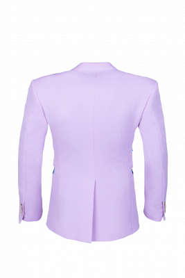 Bespoke Peak Lapel High Quality Two Button Lavender Casual Suit UK_5