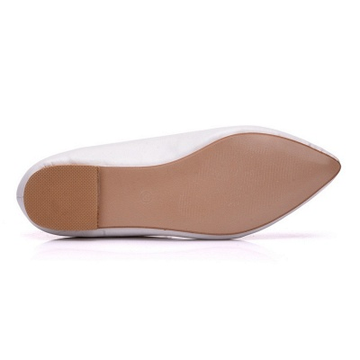 Woman Round Toe PU Flat Wedding Shoes UK_7