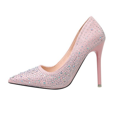 Modern Pionted Toe High Heel Wedding Shoes UK with Beadings_6